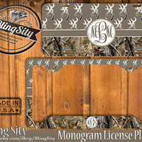 Brown Monogram License Plate Frame Holder Hunting Browning Buckhead Deer Camo Car Front license plate Tags Personalized Custom Country Girl