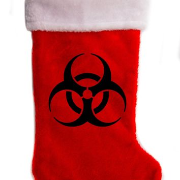 "Biohazard Sign Christmas Holiday Stocking 17"" Red/White Plush Hanging Sock Santa Stuffer Merry Gothmas"