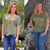 Gold buck skull with sequins Sporty Girl hunting shirt