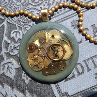 Watch Gear Pendant, Steampunk, Sage Green Holder, One Of Kind, Gold Tone Ball Chain, Teen, Tween,Mother's Day, Birthday Gift,  W/Box,  WG104