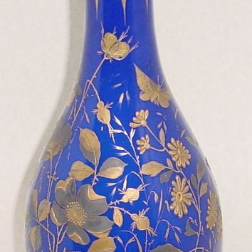999536 Tall Blue Overlay Opal Vase W\Gold Flowers & Leaves, Fancy