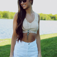 Intimate In Lace Crop Top - White