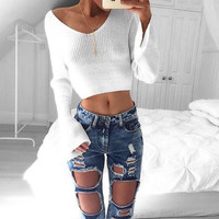 Fashion Casual Women Knitted Sweaters Pullovers Autumn Winter Long Sleeve Crop Sweater Slim Solid Knitted Sweater Female GV355