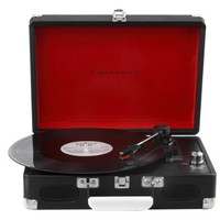 Capehart Suitcase Style 3-speed Stereo Turntable with Built-in Speakers (Black)