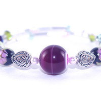 Amethyst purple stone memory wire bracelet, Pink green Swarovski crystal, Antique silver plated bead, Wrap bangle coil, Floral glass pearl