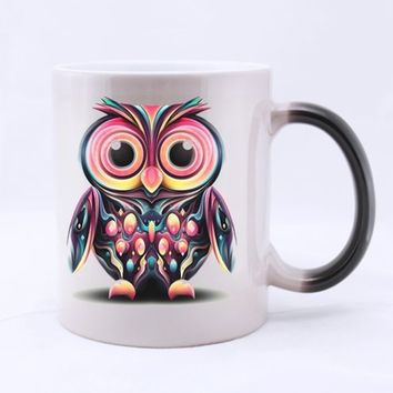 Cute Cartoon Owl-Design Your Own Morphing 11 Oz Ceramic Mug,Magical Mug, Heat Sensitive Color Changing Coffee Mug, Tea Cup