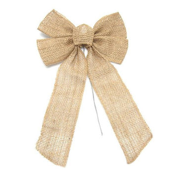 Natural Burlap Bow with Wire, 13-inch