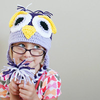 Toddler Owl Hat, Crochet Owl Hat, Girl owl hat, Crochet toddler hat, crochet photo prop, toddler animal hat, 12 month to 4T sizes available
