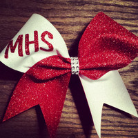 White and red glitter cheer bow.