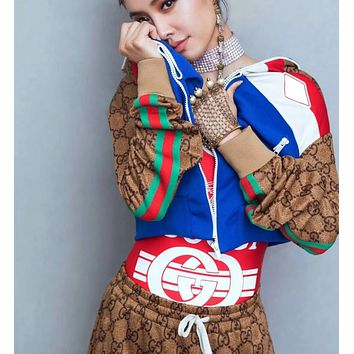 GUCCI Cardigan Jacket Coat With Long Pants More Print Double G Two Piece Suit