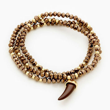 Gold & Brown Natural Stone Horn Charm Bead Stretch Wrap Bracelet / Necklace