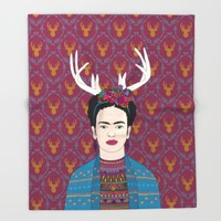 DEER FRIDA Throw Blanket by Bianca Green