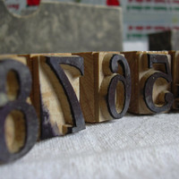Antique number printing blocks in their box