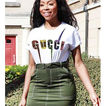 GUCCI Fashion New Summer Bust Multicolor Letter Print Women Top T-Shirt White
