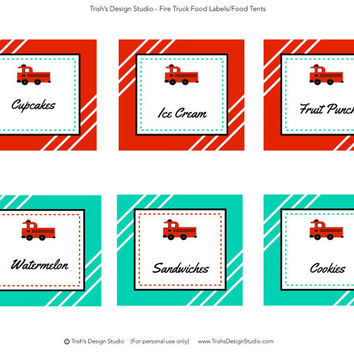 Fire Truck Party Blank Food Labels: INSTANT DOWNLOAD