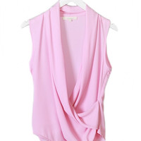 Dream About Me Draped Sleeveless Blouse - Baby Pink