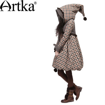 Artka Women's Winter Big Hood Rabbit Fur Plaid Embroidery Bow Warm Wadded Jacket Long A-line Casual Padded Coat A09860