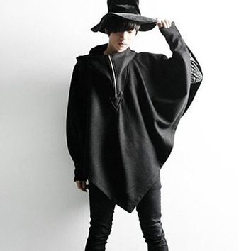 Autumn winter men personality hooded cloak wool trench coat nightclub DJ stage costume men punk rock overcoat swag clothing cape