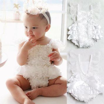 Newborn Baby Girl Romper Lace Floral Ruffles Sunsuit Jumpsuit Outfits US Stock