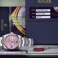ROLEX - Mens Stainless Steel DateJust Pink Floral Dial 116234 - SANT BLANC