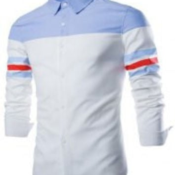 White and Blue Shirt Collar Long Striped Sleeve Shirt