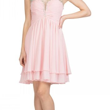 Blush Homecoming Short Dress Ruched Bodice