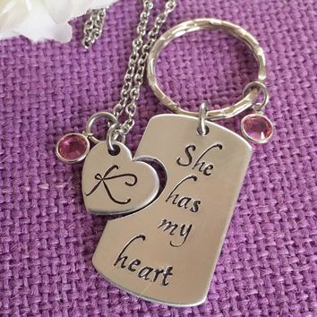 Couples Jewelry Set- Valentines Gift - Anniversary Gift - His and Hers Keychain Necklace Set - She has my heart - Personalized Keychain