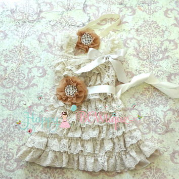 Rustic Flower Girls Dress/ Girl's Champagne Rhinestone Dress set