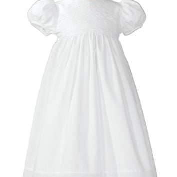 Floral & Eyelet Lace Handmade 100% Cotton Christening Gown Baby Girls 0-12M