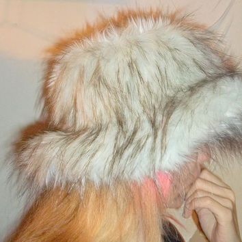 Very Cute! Faux Fur  Hat (Siberian Fox - Silver) Winter Hat, Snow Hat Cold Weather Hat - Made in New York  - Valentine's Day Gift