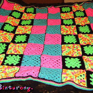 Neon Granny Square Blanket READY TO SHIP