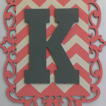 Initial wall art - chevron wall art, nursery decor, initial home decor, monogram decor, coral wall art, decor for nurseries, wood letter
