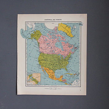 1940's Colorful Map of North America