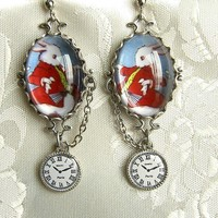 Im Late Redux Silver White Rabbit Earrings with by PersephonePlus