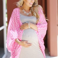 Pink Wave Print Maternity Cardigan