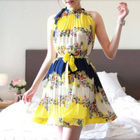 Yellow Vestidos 2015 Summer Bohemian Stand Collar Pleated Patchwork Print Flower Dresses For Womens Sleeveless Party Vintage Dress