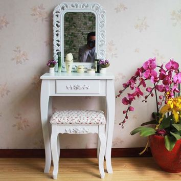 Queen Anne White Make Up Table Oval Mirror with Stool