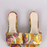 Bamboo Satin Floral Brocade Open Toe Slip-On Flat Sandal