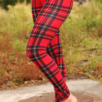 Plaid About You Leggings: Plaid/Multi