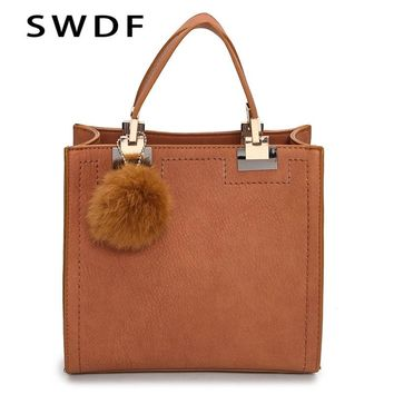 2017 New Brand Top-Handle Bags Women Leather Handbags Large Solid Shopping Tote With Tassel Fur Ball Shoulder Bag Messenger Bags