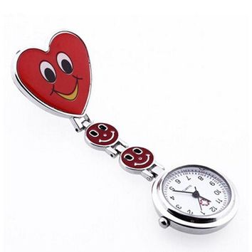 Red Heart Shape Quartz Movement Nurse Brooch Fob Tunic Pocket Watch