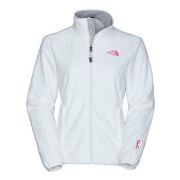 Womens North Face Pink Ribbon Osito Jacket TNF White Size Medium