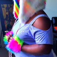 White Neon Rainbow Furry Unicorn Rave Hood UV Reactive with Hot Pink Spiral Glitter Horn