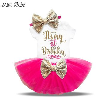 Aini Babe Newborn Baby Girl Clothes Brand Little Girl 1st Birthday Outfits Gift Infant Party Costume Toddler Clothing Baby Dress
