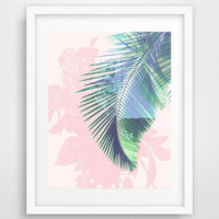 Pink and green, poster, palm leaf print, art prints, home decor, gifts for her, watercolor art, tropical leaf print, collage, tropical decor