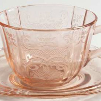 Federal Glass Company Pink Madrid Pattern Tea Cup Set 2PC