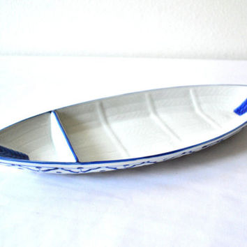 "CERAMIC Boat Shaped PLATE #3 Hand Painted Partition Asian Blue White Platter Serving Dish Kitchen Home Decor 14.5""x5.5""x2"" New Ships frm USA"