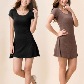 Short Sleeve Casual Mini Shirt Dress