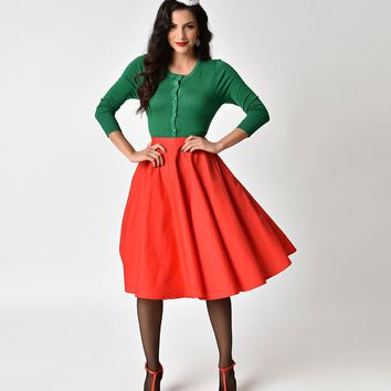 1950s Style Cherry Red Cotton Circle Skirt