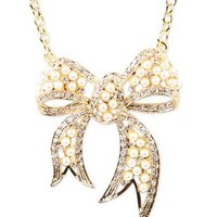 necklace with pearl bow and surrounding stones - debshops.com